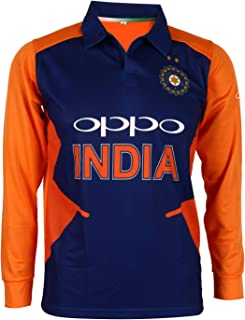Team India Away Jersey Full Sleeve Cricket Supporter T-Shirt New Orange Team Uniform Polyster Fit Material 2019-20