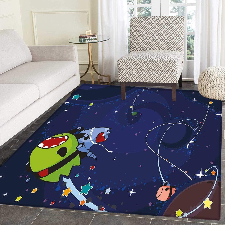Space Cat Area Rug Cartoon Kittens Alien Creatures Stars Planets on Abstract Backdrop Floor Mat Rug Indoor Front Door Kitchen Living Room Bedroom Mats Rubber Carpe Non Slip