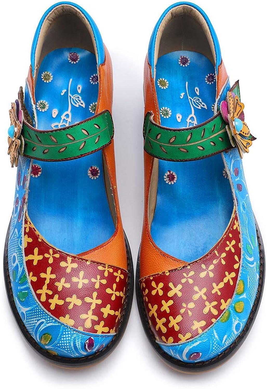 CrazycatZ Women Leather Block Heel Pumps Oxford Dress shoes Exotic Vintage Bohemian Mary Jane shoes