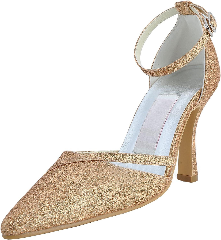 Minishion GYMZ702 Womens Strappy Glitter Evening Party Prom Bridal Wedding shoes Pumps Sandals Flatfs