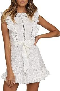 SUNJIN ARCO Women's Lace Floral Hollow Out Mini Dress Ruffle Tie Waist Summer Dress
