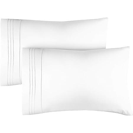 2Pcs Premium Cotton Bed Pillow Case Covers Soft Pillowcases Standard Queen King