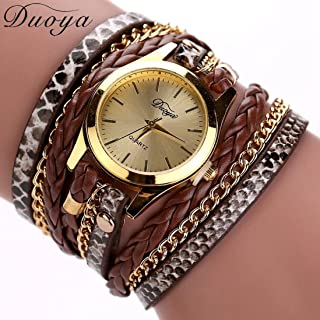 Binmer(TM) Women Leather Band Wrap Around Analog Quartz Bracelet Wrist Watch Wristwatch (Coffee)