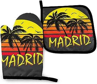 FGHJY Madrid Vintage Sun - Manoplas y soportes para ollas Guantes de cocina resistentes al calor Guantes de cocina