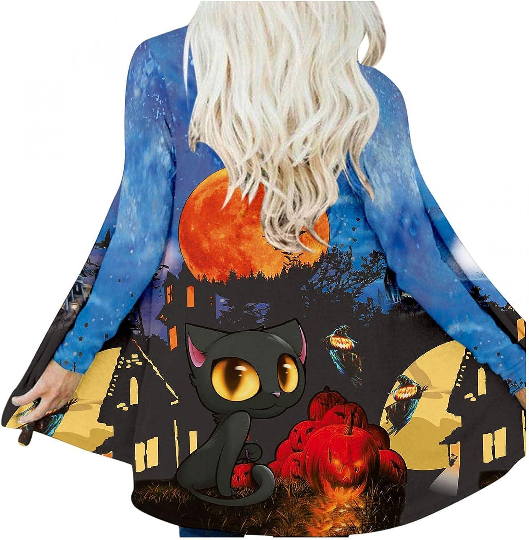 Womens Cardigan Sweaters, Women's Halloween Oversized Cardigan Burning Pumpkin Face Ghost Cat Lightweight Coat M-3XL