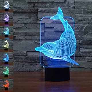 Gawell 3DイリュージョンナイトライトUSB LEDランプスリープルームのための7色の装飾良いギフト(イルカ)
