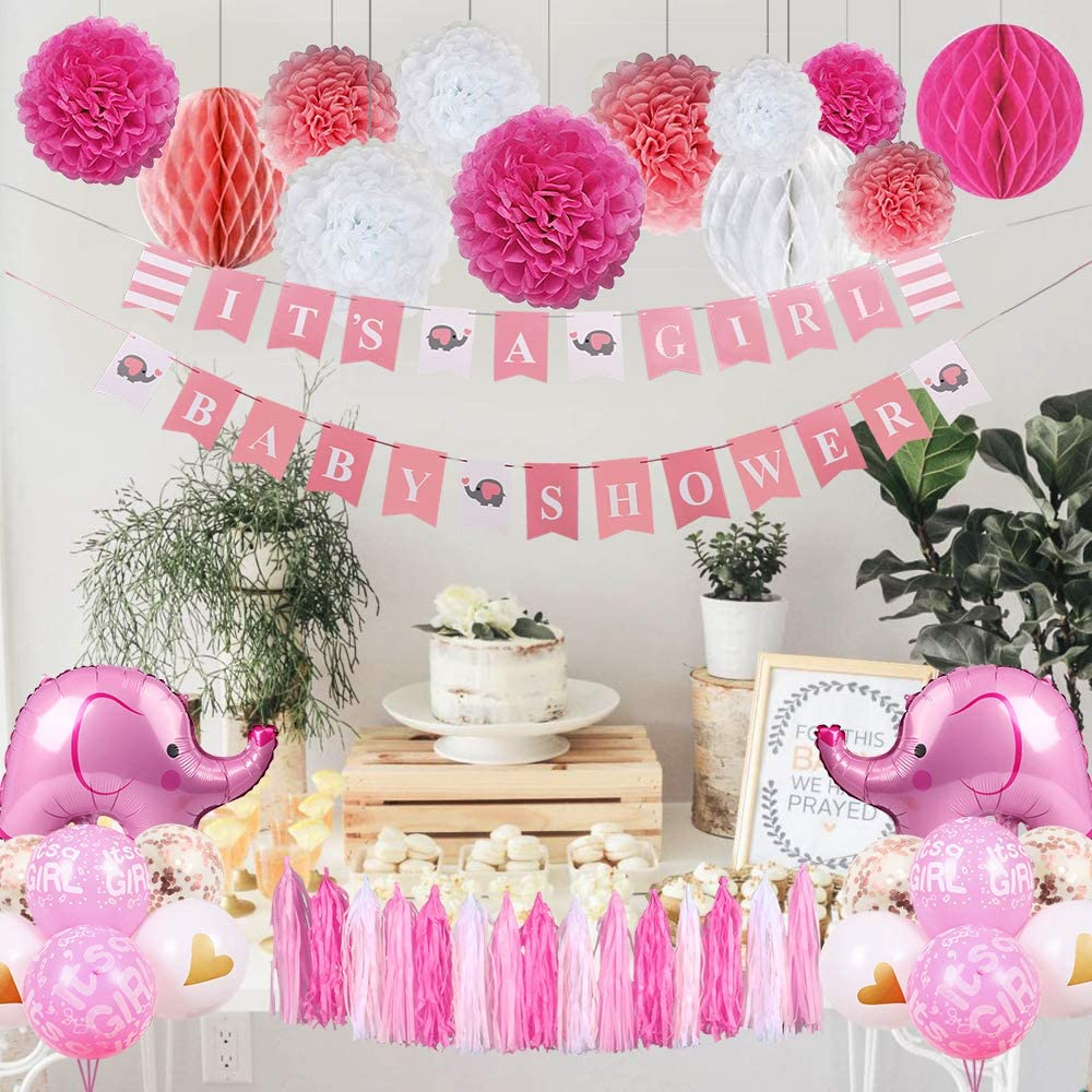 Buy Baby Shower Decorations for Girl, Elephant Theme It's A Girl ...