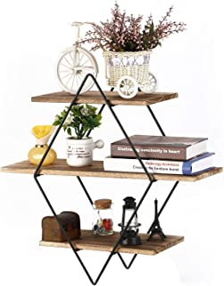 Homode Floating Shelves, 3 Tier Geometric Diamond Wall Shelves, Wood and Metal Art, Rustic Farmhouse Decor