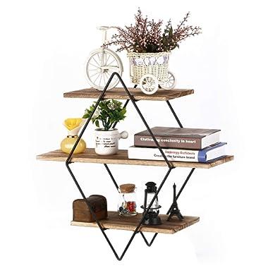 Homode Floating Shelves, 3 Tier Geometric Diamond Wall Shelves, Wood and Metal Art, Rustic Farmhouse Decor
