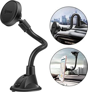 IPOW Long Arm Universal Magnetic Cradle Windshield Dashboard Cell Phone Mount Holder with 4 Metal Plates, Soft Firm Goose ...