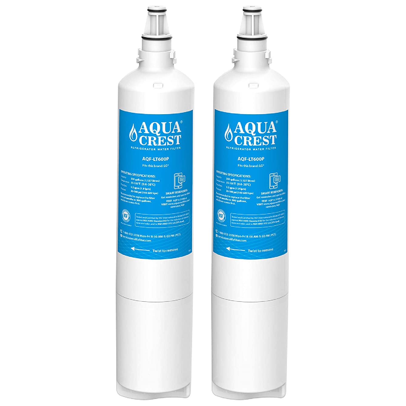 AQUACREST 5231JA2006A Refrigerator Water Filter, Compatible with LG LT600P, 5231JA2006B, 5231JA2006A, KENMORE 46-9990, 9990 (Pack of 2)