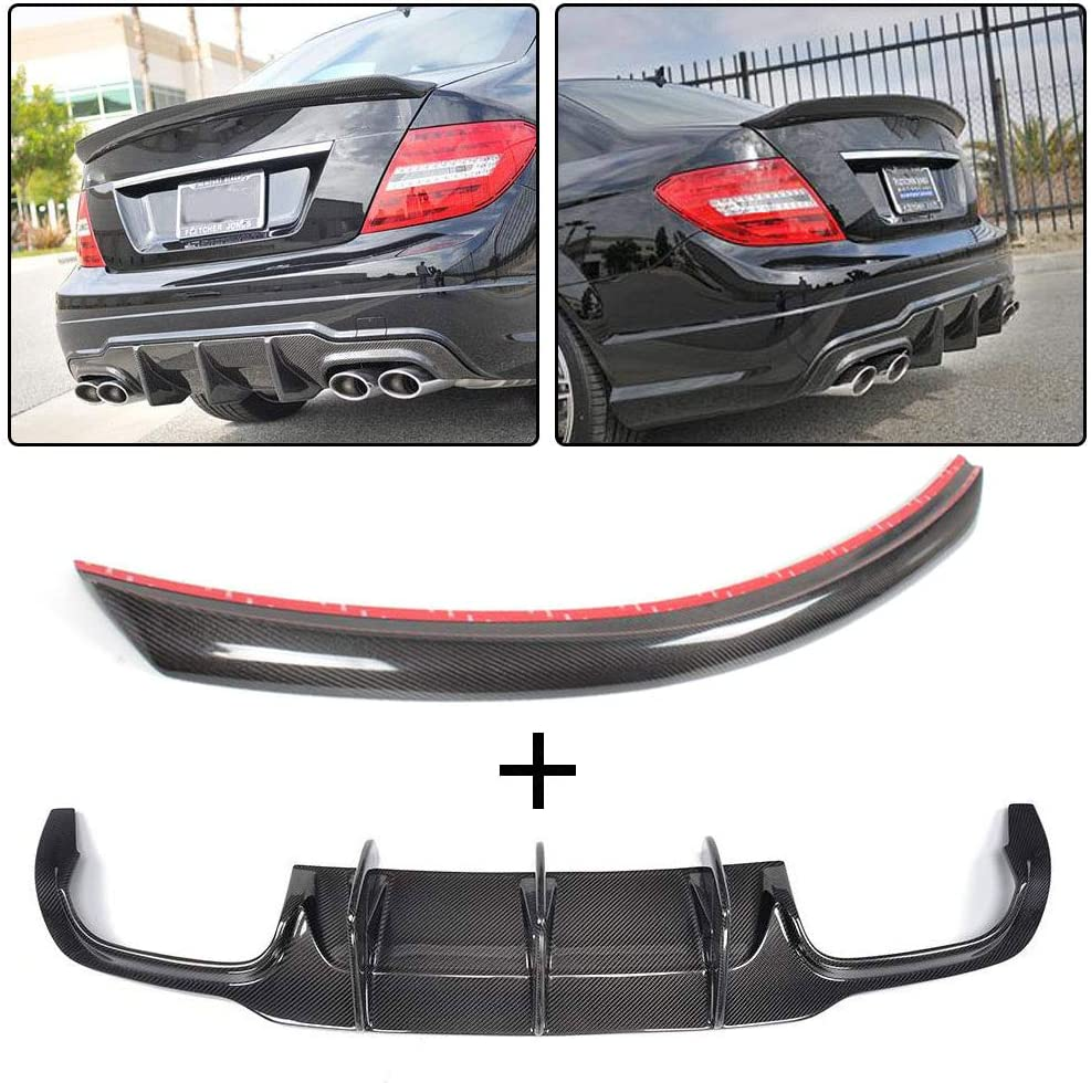JC SPORTLINE W204 CF Diffuser + fits for Mercedes Spoiler Fees Baltimore Mall free Trunk