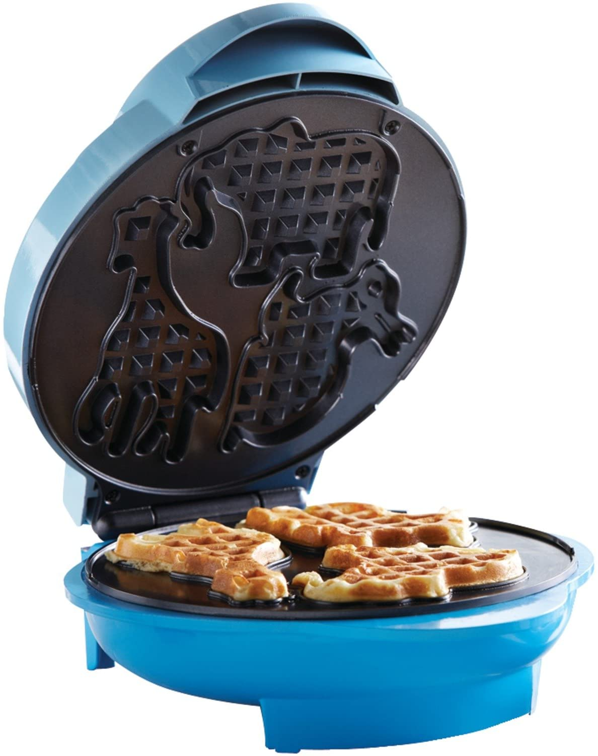 Outlet sale feature Brentwood Animal Shape Waffle Max 54% OFF Non-Stick Machine Blue Maker