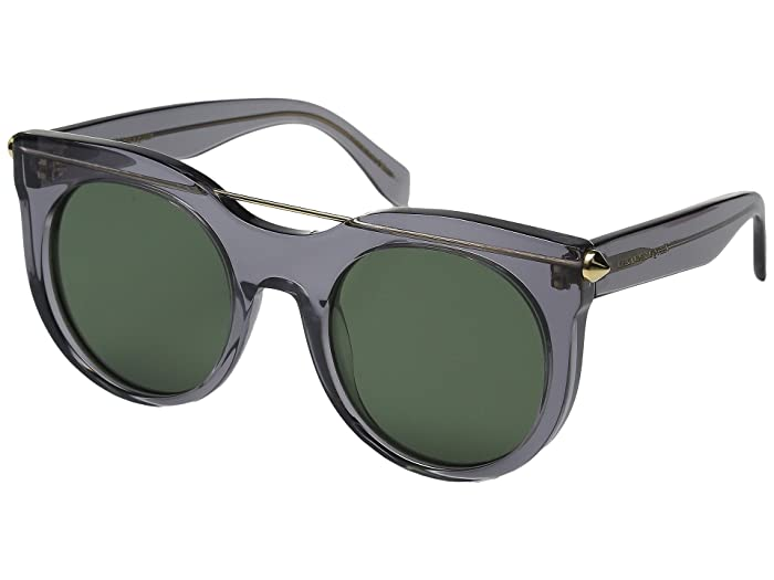 Alexander McQueen  AM0001S (Transparent Grey/Green) Fashion Sunglasses