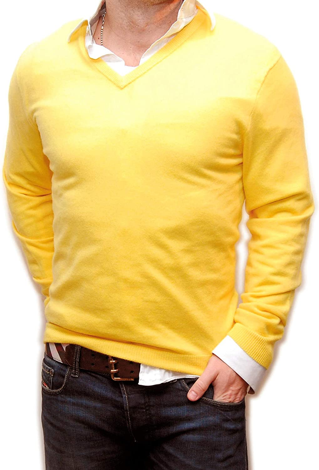 Ralph Lauren Polo Mens 100% Cashmere V-Neck Pullover Sweater Canary Yellow XS