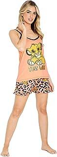 Disney Pijama Mujer Corto, El Rey Leon Pijamas Mujer, Conjunto 2 Piezas Camiseta Tirantes y Shorts, Regalos para Mujer y A...