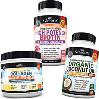 Collagen Peptides Powder + Biotin Capsules + Coconut Oil Capsules - Supports Healthy Skin, Nails, Weight & Hair Growth