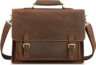 "Kattee Real Leather Shoulder Briefcase, 16"" Laptop Tote Bag(Brown)"