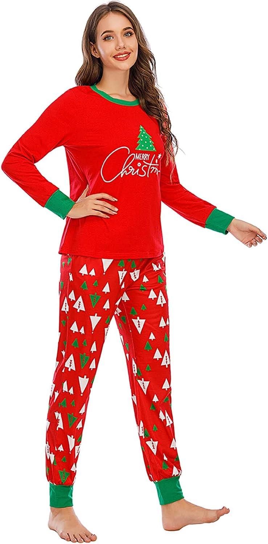 Orshoy Weihnachten Schlafanzug Familie Langarm Christmas Pyjama Set Damen Herren Kinder Weihnachten Zweiteiliger Sleepwear Christmas Matching Winter Gedruckt Nachtw/äsche