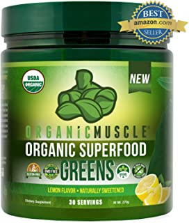 Certified Organic Superfood Greens Powder | #1 Green Juice Supplement for Energy, Detox, Immune & Gut Health w/Pre & Probiotic Blend | Vegan, Keto, Non-GMO, Lemon Flavor, 30 Serv | ORGANIC MUSCLE