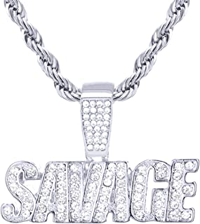 Men's Hip Hop SAVAGE Sign Pendant Rope Chain 24 inch HC 1195 S