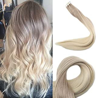 Full Shine 22 inch 50gram Tape In Hair Extensions Remy Hair Straight Color #18 Ash Blonde Fading To Color #60 Invisible Tapes Blonde Real Hair Extensions 20 Pcs