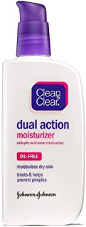 Clean & Clear Essentials Dual Action Facial Moisturizer with Salicylic Acid Acne Medication to Treat Acne and Prevent Pimples, Oil Free Face Moisturizer Cream for Acne-Prone Skin, 4 oz (Pack of 4)
