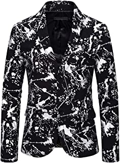 Mens Suit Jacket Slim Fit Printed Two Button Floral Casual Blazer Coat Dress Party Notched Lapel Stylish Blazer
