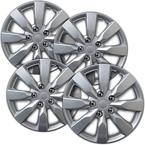 new arrival 16 inch Hubcaps Best for 2014-2019 Toyota Corolla - (Set of 4) Wheel Covers 16in Hub Caps Silver Rim Cover - outlet sale Car Accessories for 16 inch Wheels - Snap On Hubcap, Auto Tire discount Replacement Exterior Cap sale
