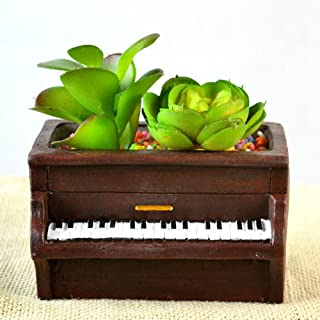 YOURNELO Cute Piano Shape Crude Pottery Hand-painted Plant Flower Pot Succulent Planters Vase (Brown)