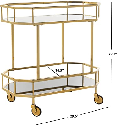 Safavieh BCT8004C Silva Bar Cart Brass/Black