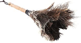 YULIN Anti-Static Ostrich Fur Brush Duster Dust Cleaning Tool Wooden Handle