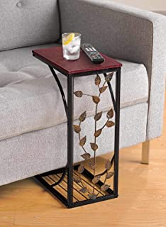 Sofa Side and End Table, Small - Metal, Dark Brown Wood Top With Leaf Design - Perfect for Your Living Room, Slides Up To Sofa / Chair / Recliner - Keep Snacks, Drinks Books & Phone At Easy Reach