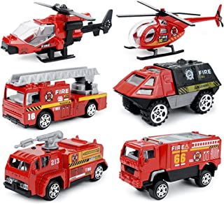 JQGT 6 in 1 Pocket Fire Engine Truck Rescue Vehicle Toy Play Set for Kids Toddlers Mini Action Fire Truck Toy