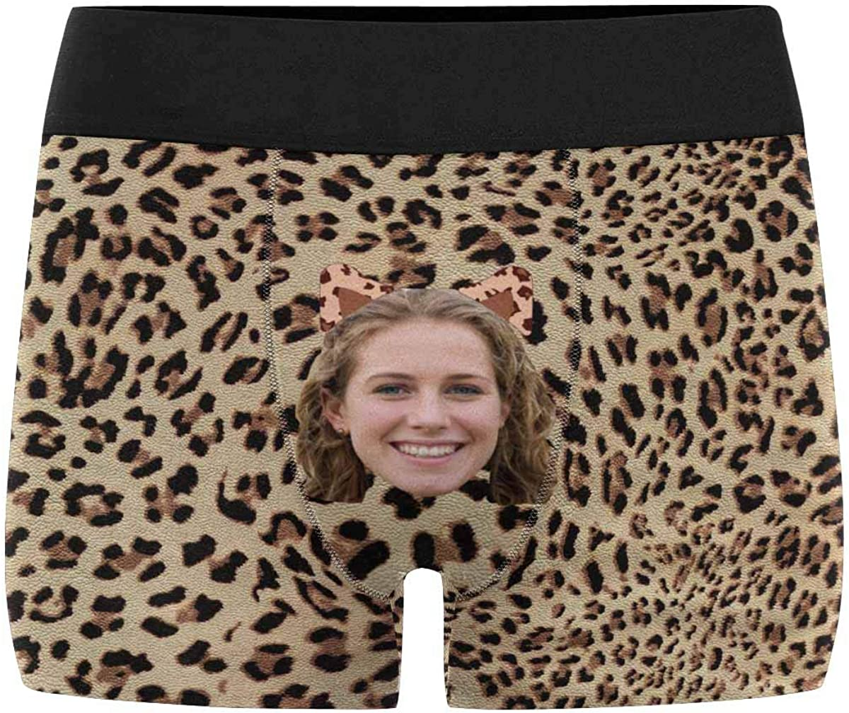 Custom Picture Face Leopard Print Men's Boxer Shorts Underpants Briefs with Photo