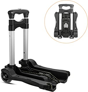 CBTONE Folding Hand Truck Lightweight Portable Luggage Cart 100 lbs Capacity with Black Bungee Cord and Storage Bag (Black)