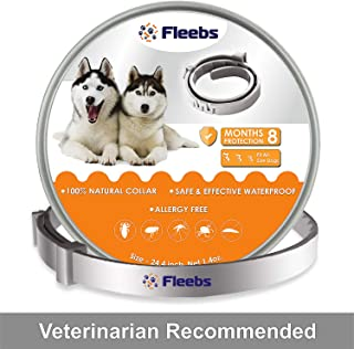 Dog Flea and Tick Collar - Flea and Tick Prevention for Dogs Easily Adjustable and Waterproof for Large Small Dogs Flea Tick Collar Natural Flea Tick Control Collar Dogs Flea Treatment 1 Year