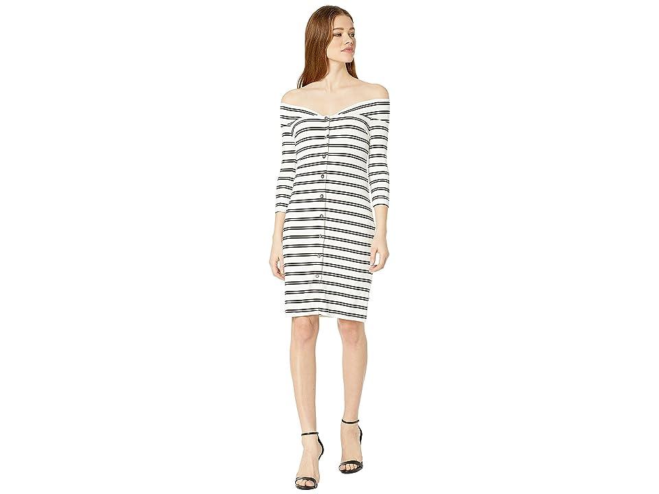 Bebe Off Shoulder Mini Dress (Ellie Stripe) Women