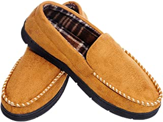MIXIN Men's Moccasins Slippers Comfy Warm Rubber Sole Slip-on Memory Foam Cushions Indoor Outdoor Driving Shoes