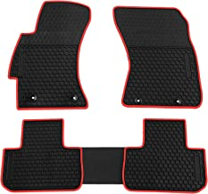 biosp Car Floor Mats for Subaru Forester 2014-2018 Front and Rear Heavy Duty Rubber Liner Set Black Red Vehicle Carpet Custom Fit-All Weather Guard Odorless
