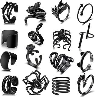 16 PCS Y2K Open Silver Black Vintage Golden Punk Rings...