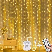 Vicloon Gordijn Fairy Lights, 300 LED Warm Wit Gordijnlampen, 3 m 8 Modus Waterdichte Raamlichten, USB & Batterij Aangedre...