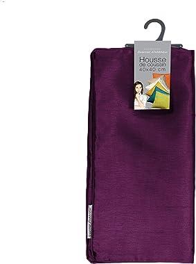 douceur d'intérieur 1605656 Housse de Coussin + Encart Shantung Uni Shana Polyester Prune 40 x 40 cm