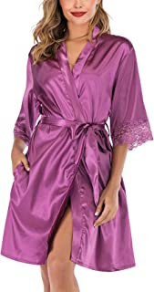 ABirdon Women's Satin Silk Bathrobe Oblique V-Neck Short Lace Trim Kimono Robe Nightgown Sleepwear Satin Short Robe S-XXL