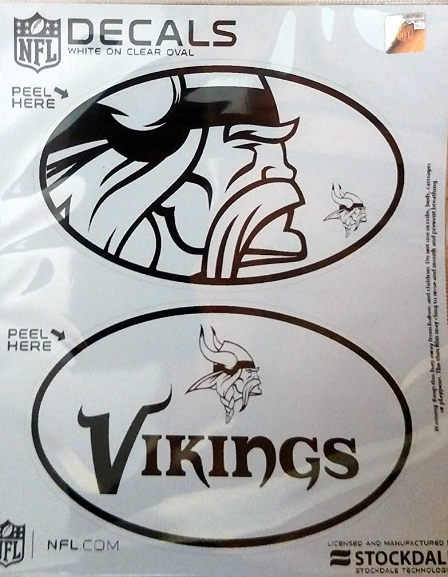 Minnesota Vikings 2-Pack EURO STYLE Vinyl Oval Home Auto Decals Sticker Football