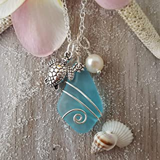 """product image for Handmade in Hawaii, Turquoise Bay blue sea glass necklace, Turtle charm, freshwater pearl,""""December Birthstone"""",(Hawaii Gift Wrapped, Customizable Gift Message)"""