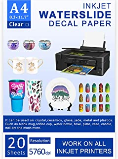 Water Slide Decal Paper Inkjet 20 Sheets A4 Size Premium Water-Slide Transfer Paper Clear Transparent Printable Water Slide Decals Perfect for Tumblers, Mugs, Glasses DIY Christmas Gift