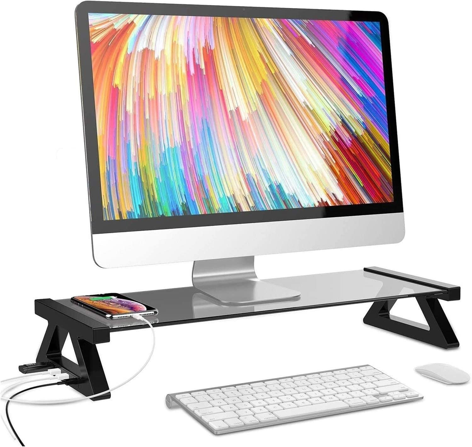 ZhanMa Monitor In stock Risers Over item handling Stand Computer Rise Glass
