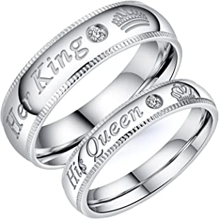 2pcs Silver Matching Couple Promise Rings Set His Queen Her King Stainless Steel Engagement Anniversary Rings Couple Jewelry Gifts