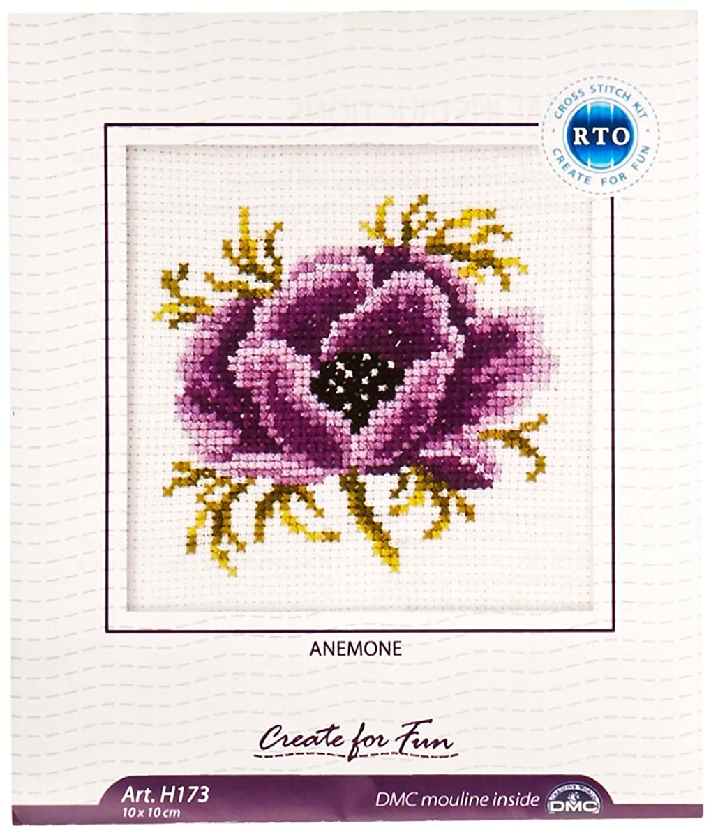 RTO H173 14 Count Counted Cross Stitch Kit, 4 by 4-Inch, Anemone